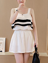 Women's Casual/Daily Simple Spring / Summer T-shirt Pant,Striped Strap Sleeveless White / Black Polyester Thin