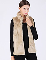 Women's Plus Size / Casual/Daily / Party/Cocktail Sexy / Simple Fur Coat,Solid Stand Sleeveless Fall / WinterWhite /
