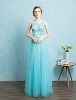 Floor-length Tulle Bridesmaid Dress - Beautiful Back A-line Jewel with Sash / Ribbon