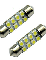 10pcs 8 SMD LED 36mm White 3528 LED Festoon Dome Lamp Bulb(DC12V)