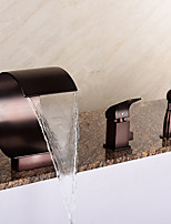 Art Deco/Retro Roman Tub Waterfall / Handshower Included with Ceramic Valve 1-Handle 3-Holes for  ORB, Bathtub Faucet