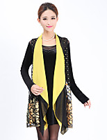 Women's Casual/Daily Simple Sheath Dress,Floral Round Neck Above Knee Long Sleeve Yellow Polyester Spring