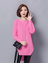 Women's Casual/Daily Simple Long Pullover,Solid Pink / Black Round Neck Long Sleeve Acrylic Fall Medium