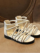 Girl's Sandals Summer Sandals PU Outdoor Flat Heel Rivet / Buckle Black / White Others