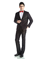 Tuxedos Tailored Fit Peak Single Breasted Two-buttons  Wool & Polyester Blended Solid 2 Pieces Black