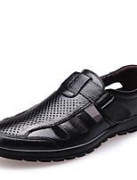 Черный / Коричневый-Мужской-Для прогулок / На каждый день-Кожа-На плоской подошве-На плокой подошве-Кеды