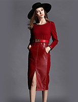 BOMOVO® Women's Round Neck Long Sleeve Tea-length Dress-B16CQC4