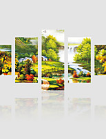 JAMMORY Canvas Set Landscape Modern,Five Panels Gallery Wrapped, Ready To Hang Vertical Print No Frame Painting Village