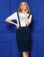 Boutique S Women's Going out Cute Spring T-shirt Skirt,Solid / Letter Round Neck Short Sleeve White Cotton / suit