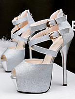 Women's Sandals Summer Sandals / Open Toe PU Casual Stiletto Heel Others Black / Blue / Silver / Gold Others