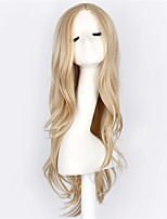 Hot Selling Blonde Color Long Wave Women Wigs Heat Resisting Cospaly Syntheitc Wigs