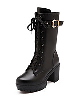 Women's Boots Winter Fashion Boots Leatherette Dress / Casual / Party & Evening Chunky Heel Others Black / Brown