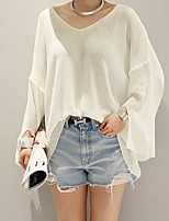 Women's Casual/Daily Simple Regular Cardigan,Solid White Round Neck Long Sleeve Acrylic Summer Medium