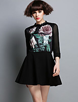 DREAMY LAND  Women's Going out Vintage A Dress,Floral Stand Mini ¾ Sleeve Black Silk / Cotton Spring