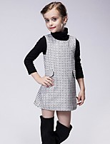 Girl's Casual/Daily Houndstooth Dress,Polyester Winter / Fall Black / White