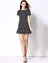 Women's Casual/Daily Simple Sheath DressPolka Dot Round Neck Mini Short Sleeve White / Black Polyester Summer