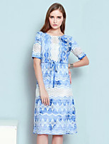 Boutique S Women's Casual/Daily Vintage Shift Dress,Embroidered Round Neck Knee-length Short Sleeve Blue Polyester Fall