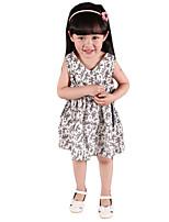 Mädchen Kleid-Lässig/Alltäglich Druck Baumwolle Sommer Weiß