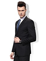 Suits Standard Fit Notch Single Breasted Two-buttons Viscose Solid 2 Pieces Black Straight Flapped