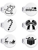 6Pcs Christmas Present Stencils Cupcake Stencil Set Decorative Stencils Cookie Stencil for Party ST-919