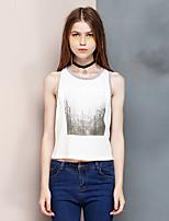 Heart Soul® Women's Round Neck Sleeveless T Shirt White-24AD23209