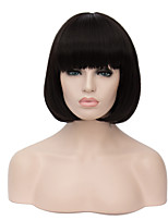 European Fashion Short Sythetic Natural Black Neat Bang Bob Style Party wig for women