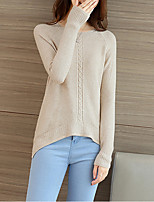 Women's Casual/Daily Street chic Regular Pullover,Solid Pink / Beige / Gray / Purple Round Neck Long Sleeve Polyester
