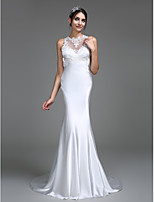Lanting Bride Trumpet / Mermaid Wedding Dress Court Train Jewel Charmeuse with Appliques / Button
