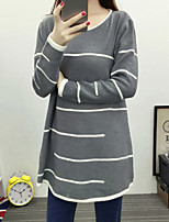 Women's Casual/Daily Simple Long Pullover,Striped Gray Round Neck Long Sleeve Cotton Fall / Winter Medium