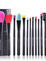 15 Makeup Brushes Set Goat Hair Professional / Full Coverage / Portable Wood Face / Eye / Lip Others With Cosmetic Bag