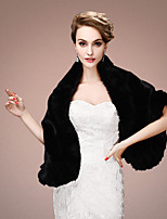 Women's Wrap Shawls Sleeveless Faux Fur Black / Red / Beige Wedding / Party/Evening Shawl Collar Tiered Open Front