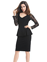 Women's Plus Size / Casual/Daily / Work Street chic Bodycon Dress,Solid V Neck Knee-length Long Sleeve