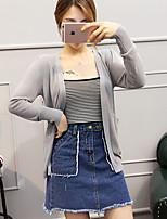 Women's Casual/Daily Simple Regular Cardigan,Solid V Neck Long Sleeve Rayon Spring Medium