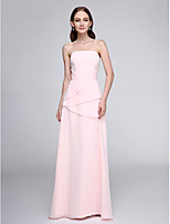 Lanting Bride® Floor-length Chiffon Bridesmaid Dress - Elegant Sheath / Column Strapless with Ruching