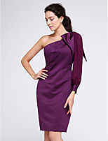 TS Couture® Cocktail Party Dress Sheath / Column One Shoulder Knee-length Chiffon / Satin with Side Draping