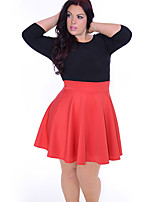 Women's Casual/Daily / Plus Size Simple Sheath Dress,Color Block Round Neck Knee-length ¾ Sleeve Orange Polyester Summer Mid Rise