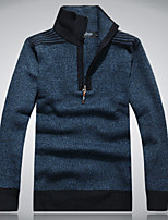 Men's Solid Casual / Work Cardigan,Wool Long Sleeve Blue / Green / Beige / Gray