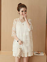 Maternity Holiday Cute Loose Dress,Solid Round Neck Above Knee ¾ Sleeve White Cotton Summer