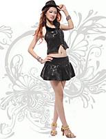 Jazz Outfits Dames Prestatie Acryl / Lovertjes Split Voorzijde 2-delig Zwart / Zilver Jazz Mouwloos Natuurlijk Rok / Bovenkleding