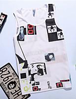 Men's Print Casual / Sport Tank Tops,Cotton Sleeveless-Black / White