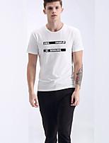 T-shirt Uomo Casual Con stampe Rayon Manica corta-Nero / Bianco