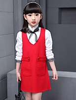 Girl's Casual/Daily Solid Dress,Cotton / Rayon Winter / Spring / Fall Black / Red