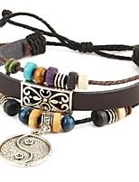 Punk Men's Bracelet PU Leather Bracelet Tai ji Charm Multilayer for Men Fashion Jewelry