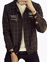 Men's Fashion Plaids Double Pocket Outdoor Casual Jacket;Cotton/Polyester/Plus Size