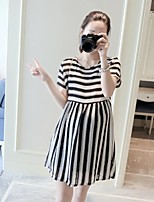 Maternity Casual/Daily Simple Loose Dress,Striped Round Neck Above Knee Short Sleeve Black Others Summer