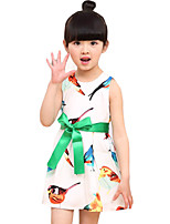 Girl's Going out Animal Print Dress,Rayon Summer Green