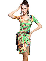 Latin Dance Dresses Women's Training Rayon Pattern/Print / Leopard 1 Piece Green / Red