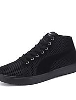 Hombre-Tacón Plano-Confort-Zapatillas de deporte-Exterior / Casual / Deporte-Tul-Negro / Blanco / Negro y Rojo