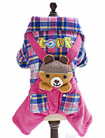Dog Clothes/Jumpsuit Blue / Pink Winter / Spring/Fall Britsh / Plaid/Check / Animal Fashion / Lattice, Dog Clothes