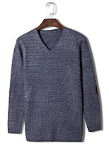 Мужской Однотонный Пуловер На каждый день,Шерсть,Длинный рукав,Серый